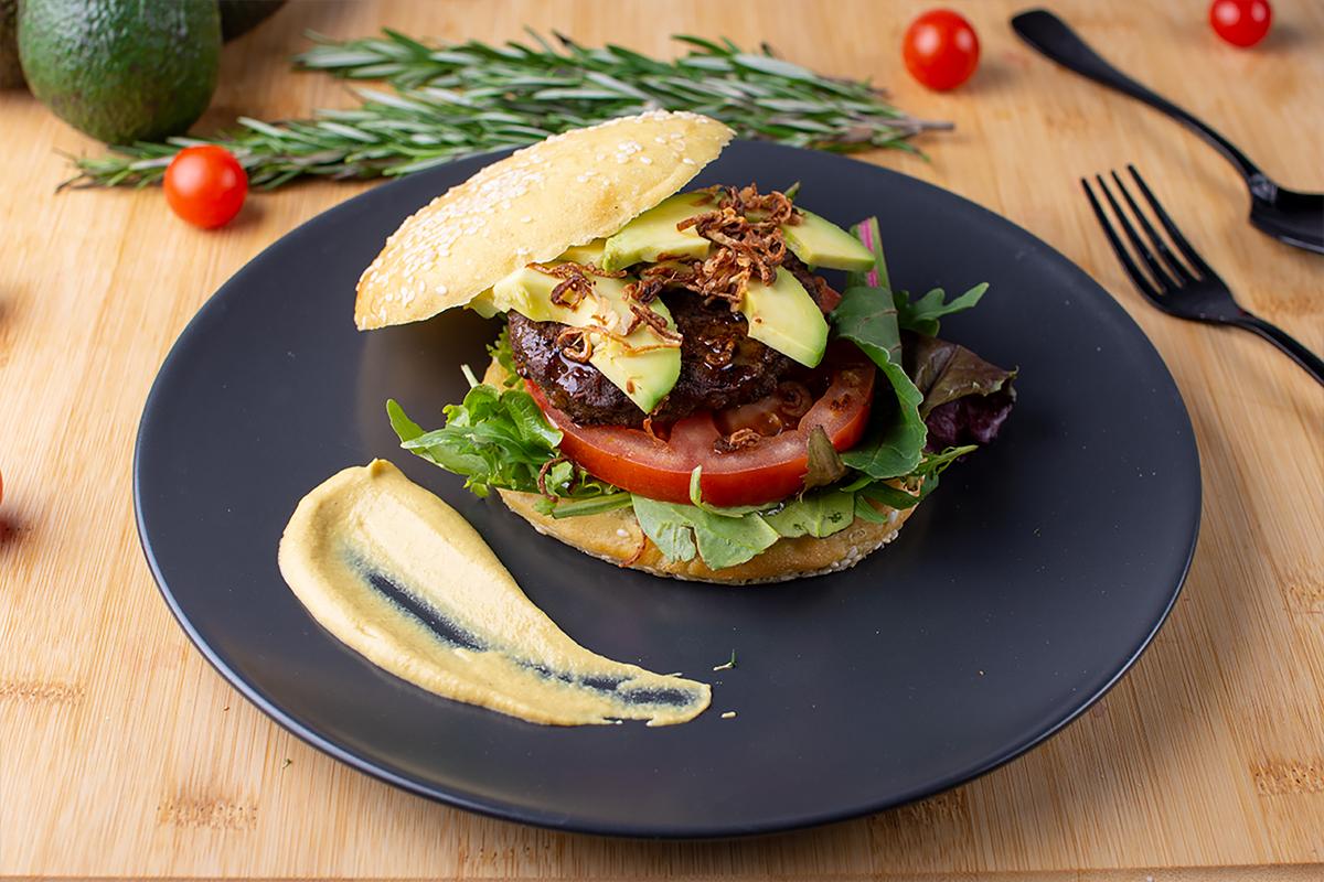 Paleo Burgers with caramlized balsamic onions & Avocado